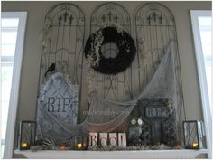 My Cemetery Halloween Mantel decor, Tombstones, cemetery mantel with gates, scary decor, Halloween Props creepy lanterns scary fabric draped over tombstones