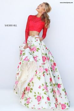 Sherri Hill 50261, this beautiful floral print dress is so fresh and so clean.