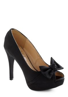 Dressy and Adorable Heel. Whether your next big event is prom, your best friend's wedding, or your anniversary dinner, complete the outfit by adding these charming platform peep toes under the hemline of your lacy dress! #black #prom #wedding #modcloth