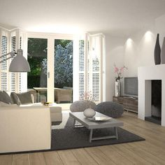 Plantations shutters with grey and white colour scheme for family room? My Living Room, Living Room Interior, Home And Living, Interior Exterior, Interior Architecture, Interior Design, Modern Interior, Decoration Chic, Love Home