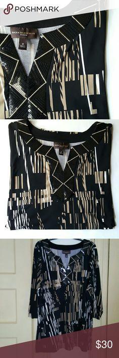 Dana Buchman Woman || Embellished Top Black. Cream. Tan. Sequins around neckline.  95 % polyester. 5% spandex. Excellent condition. Dana Buchman Tops