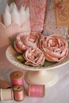 Make and display fabric roses anywhere in your home that needs a bit of romance.