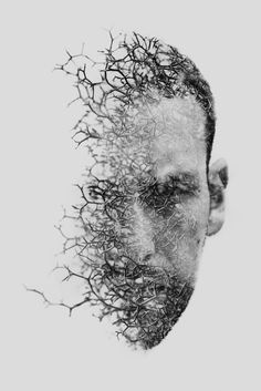 double exposure / ART / visage / Noir / Blanc