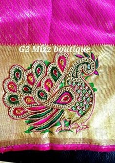 Aari Embroidery, Embroidery Works, Indian Embroidery, Hand Embroidery Designs, Machine Embroidery, Kids Blouse Designs, Blouse Designs Silk, Bridal Blouse Designs, Maggam Work Designs