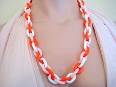 Crown Trifari Plastic Link Necklace Orange Pink and White Vintage 1950's by VintageRenude on Etsy
