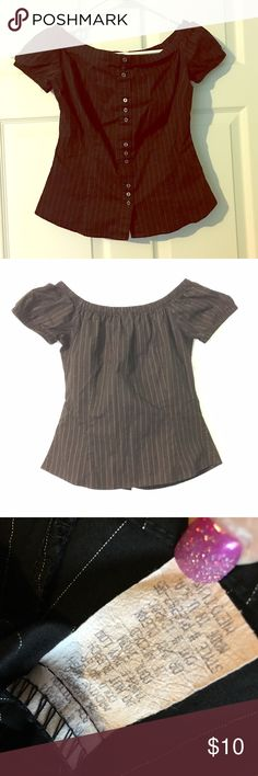 Pinstripe Black Peasant Top Button Down Shirt Med Medium, elastic at neckline & Sleeves. Stretchy Button Down with pinstripes.   TT Charlotte Russe Tops Button Down Shirts