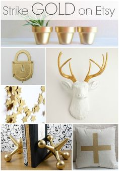 gold decor for the home or office from etsy gold planters gold hooks - Gold Home Decor