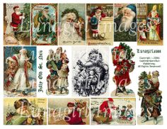 digital collage sheet Victorian Christmas Santa Claus vintage images holiday cards printables