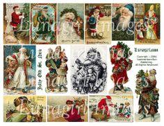 digital collage sheet Victorian Christmas Santa Claus vintage images holiday cards printables