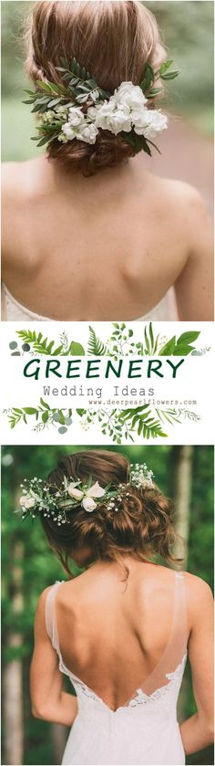 Greenery rustic wedding updo hairstyles #green #wedding #weddingideas #dpf #deerpearlflowers #rusticwedding