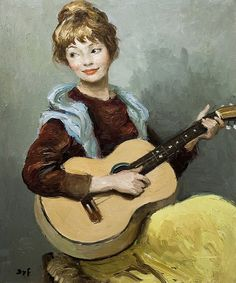Girl with guitar, by Marcel Dyf (French, 1899-1985).