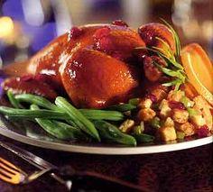 Cornish Game Hens with Amaretto Stuffing and Honey Glaze
