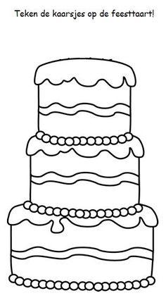 kleurplaat taart peuters zoeken begin