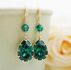 Gorgeous emerald earrings by mysweetjewelry on Etsy, $33.80