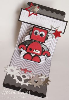 The Dining Room Drawers: Pop 'n Cuts/Cricut Robot Birthday Card by Helen Cryer - using @Sizzix Pop `n Cuts by @Karen Burniston.