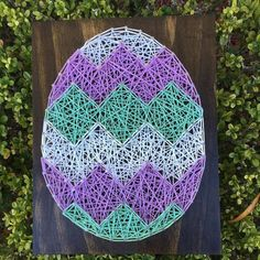 MADE TO ORDER - Custom Chevron Easter Egg String Art! Choose your own colors!