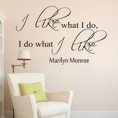 Wall Decals Marilyn Monroe Quote Decal I Like What I Do Sayings Sticker Vinyl Decals Wall Decor Murals Z275