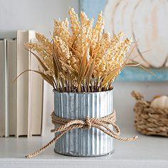Galvanized Yellow Wheat Arrangement