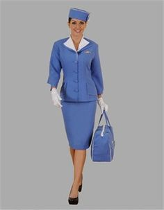 With this Adult Stewardess Costume the sky is the limit! Soar through the air aboard your jet liner and help keep the travelers comfortable and content. Work Appropriate Halloween Costumes, Buy Halloween Costumes, Carnival Costumes, Halloween Stuff, Theatre Costumes, Movie Costumes, Adult Costumes, Vintage Suit, Retro Vintage