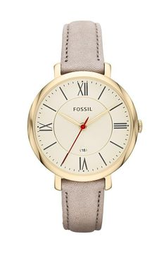 Fossil 'Jacqueline' Watch with Leather Strap