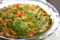 Dairy free Spinach Quiche--make hash brown crust with olive oil, add bacon