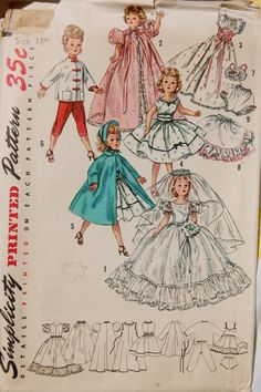 Vintage Simplicity 1808 Doll Clothes pattern for Revlon and Cissy dolls