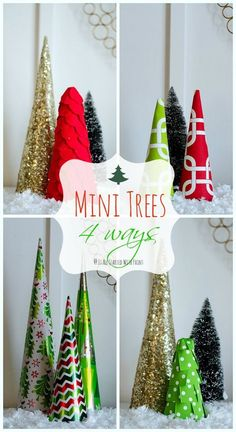 christmas craft project to create mini trees easy craft idea that you can do with the kids includes making tree forms and covering with paper and ribbon