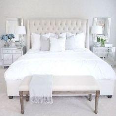 Neutral bedroom white bedroom tufted bed mirrored nightstand arhaus furniture