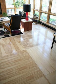 Unique, affordable, DIY plywood flooring! no tutorial but I like the idea of leaving in sheets instead of ripping into planks