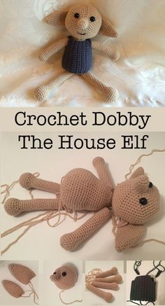 Crochet Diy How to Crochet Dobby The House Elf Doll - In this article I will be giving you a free crochet pattern to make your very own crochet Dobby toy. Crochet toys also available to order. Crochet Doll Pattern, Crochet Toys Patterns, Crochet Patterns Amigurumi, Baby Knitting Patterns, Stuffed Toys Patterns, Amigurumi Doll, Crochet Dolls, Baby Patterns, Crochet Doll Clothes