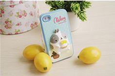 iPhone 4 Cute Molang Change Up 3D Jelly Case Blue Lemon