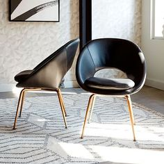 Orb Leather Dining Chair - Black/Antique Brass #westelm