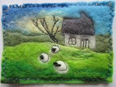 felt aceo sheep in field handmade original art by SueForeyfibreart Wet Felting, Needle Felting, Wool Art, French Knots, Hand Stitching, Sheep, Original Art, Miniatures, Landscape