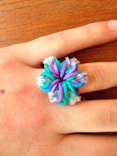 Rainbow loom floral fancy ring