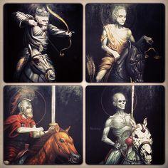 The Four Horsemen of the Apocalypse, as painted by Adrian Dominic. Dark Fantasy Art, Dark Art, Four Horsemen Of The Apocalypse Tattoo, Les Quatre Cavaliers, Apocalypse Art, Ange Demon, Skeleton Art, Christian Art, Religious Art