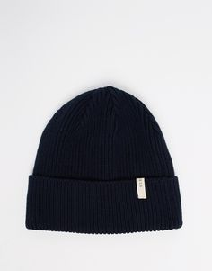 Beanie by Selected Ribbed knit Turned-up cuff Patch detail Machine wash 60% Cotton, 40% Acrylic