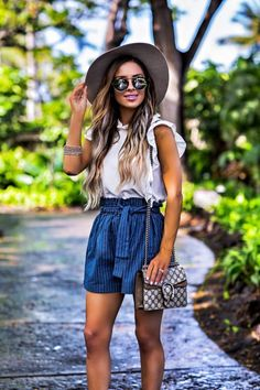 MAY 11TH, 2017 BY MARIA Casual Outfit In Hawaii - Moon River Striped Shorts // Moon River Crop Top // Janessa Leone Hat // Illesteva Sunglasses // Chloe Wedges // Gucci Dionysus Mini Bag // Kendra Scott Bracelet Stack