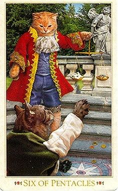 Baroque Bohemian Cats Tarot. 6 of Pentacles.