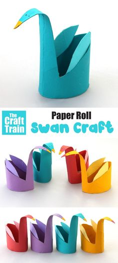 The easiest paper roll swan craft ever! This is a fun craft idea for kids of all ages and is so simple to make with a squash, cut and fold technique. A fun way to recycle toilet rolls Animal Crafts For Kids, Paper Crafts For Kids, Preschool Crafts, Fun Crafts, Art For Kids, Preschool Ideas, Craft Kids, Recycled Crafts Kids, Bird Crafts