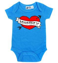 Mommy Heart Tattoo Turquoise One Piece - My Baby Rocks www.punkbabycloth... www.mybabyrocks.com #mybabyrocks #punkbabyclothes #baby
