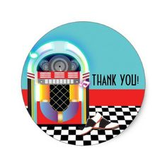 50's Sock Hop Dance Party Jukebox Red Favor Classic Round Sticker - party gifts gift ideas diy customize