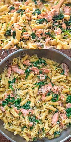 This Salmon Pasta with Spinach is a deliciously easy pasta recipe with chunks of tender salmon, spinach in a scrumptious creamy Parmesan sauce! Shellfish Recipes, Seafood Recipes, Vegetarian Recipes, Cooking Recipes, Healthy Recipes, Spinach Pasta Recipes, Chicken Pasta Recipes, Easy Pasta Recipes, Chick Pea Pasta Recipe