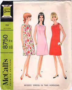 McCalls 8750 1960s Misses MOD Shift DRESS Pattern Womens Vintage Sewing Pattern Size 14 Bust 34