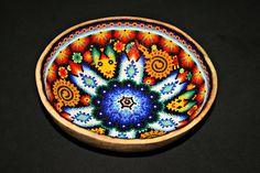 Huichol Beaded Gourd Bowl, Huichol Beadwork, Native American Beadwork, Mexican Art, Native American Decoration, Native Spirituality