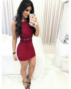 Sheath Square Short Burgundy Cocktail Dress with Appliques Tight Dresses, Sexy Dresses, Cute Dresses, Casual Dresses, Short Dresses, Fashion Dresses, Girls Dresses, Prom Dresses, Formal Dresses
