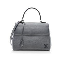 Rental Louis Vuitton Epi Leather Cluny MM Satchel (7.115 CZK) ❤ liked on Polyvore featuring bags, handbags, grey, over the shoulder purse, genuine leather handbags, grey purse, leather satchel handbags and louis vuitton purses