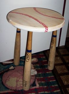 DIY baseball bat table