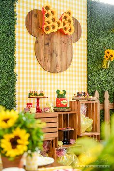 Cake and sweet display from a Minnie Mouse Sunflower Garden Party
