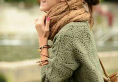 moss green knit sweater