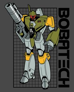 Bobatech by Sublevelstudios on ShirtPunch 3/25/14. Star Wars + Robotech mashup.